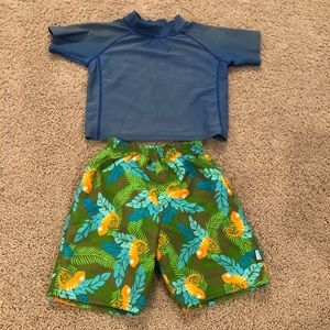 Boys rash guard size 18M & swim trunks size 18-24M